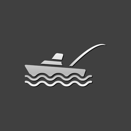 grey: Fishing boat icon in metallic grey color style. Sport recreation ship transport