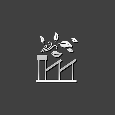 building: Green factory icon in metallic grey color style. Industrial environment friendly