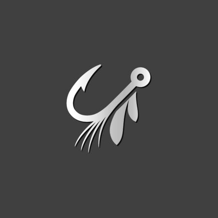 metallic: Fishing lure icon in metallic grey color style. Sport water attracts