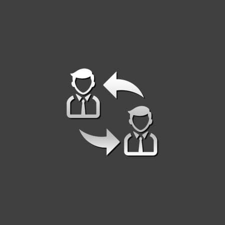 shiny metal: Employee rotation icon in metallic grey color style.Position human resources