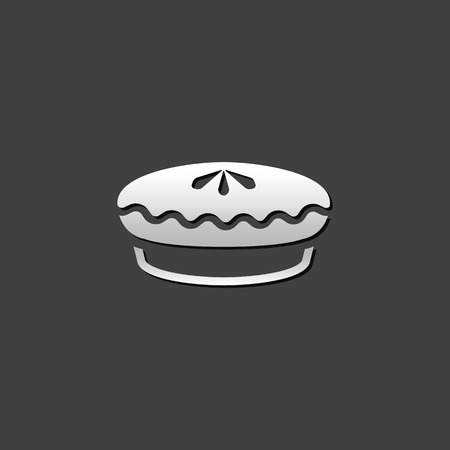metallic: Cake icon in metallic grey color style. Food sweet delicious