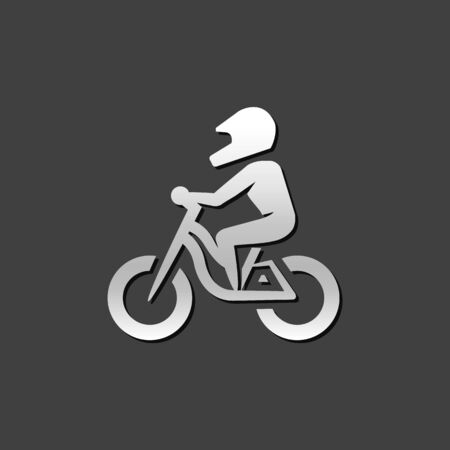 Mountain biker icon in metallic grey color style. Sport bicycle extreme downhill