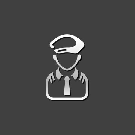 shiny metal: Pilot avatar icon in metallic grey color style. People aviation airplane