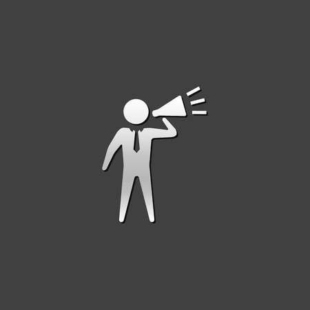 motivator: Businessman loudspeaker icon in metallic grey color style. Motivator leader megaphone