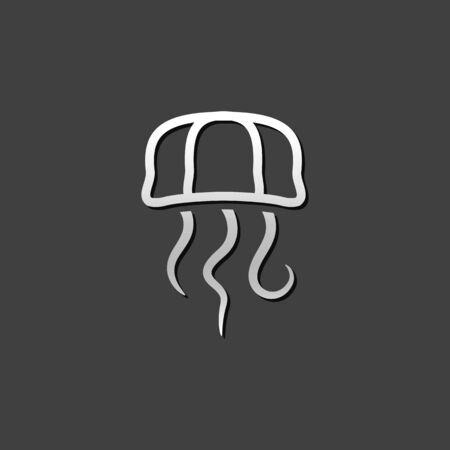 shiny metal: Jellyfish icon in metallic grey color style. Transparent animal ocean dweller Illustration