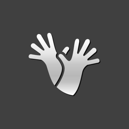 metallic: Cleaning glove icon in metallic grey color style.Equipment rubber household