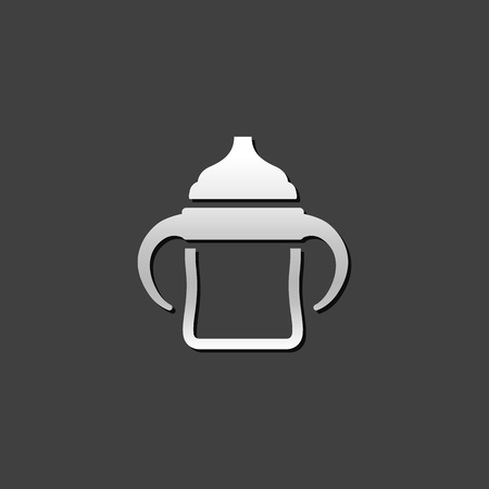 baby: Milk bottle icon in metallic grey color style. Baby toddler pacifier