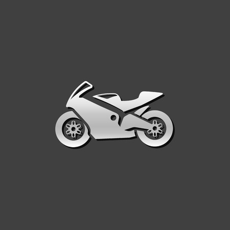 shiny metal: Motorcycle icon in metallic grey color style. Sport speed race