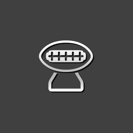 competitions: American football trophy icon in metallic grey color style. Winner champion