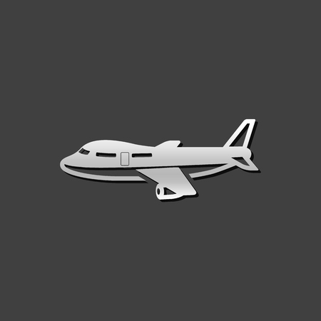 shiny metal: Airplane icon in metallic grey color style. Aviation transportation travel