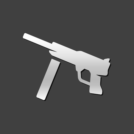 soldiers: Vintage firearm icon in metallic grey color style. World war army hand gun. Illustration