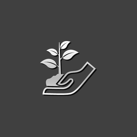 shiny metal: Hand holding tree icon in metallic grey color style. Ecosystem environment conservation