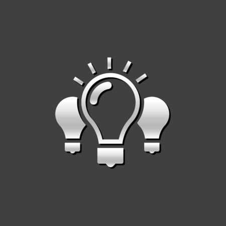 Light bulb icon in metallic grey color style. Idea inspiration light