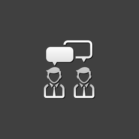 shiny metal: Teamwork icon in metallic grey color style. Business collaboration team