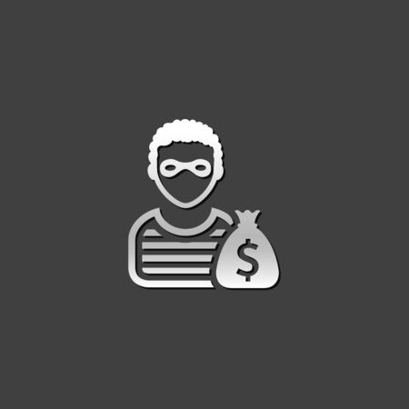 metallic: Burglar icon in metallic grey color style. People person thief steal Illustration
