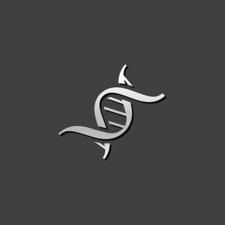 view: DNA strands icon in metallic grey color style. Science biology chromosome