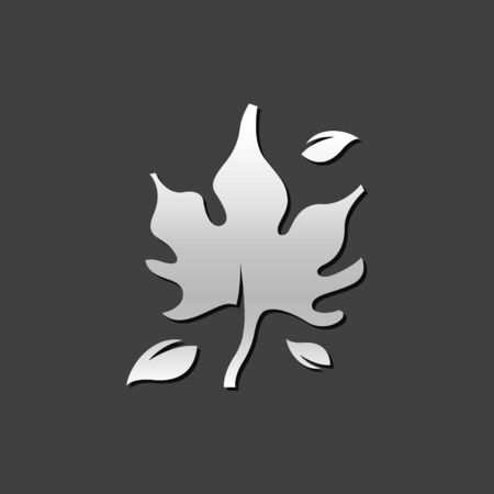 Maple leaf icon in metallic grey color style. Autumn fall leaves Illustration