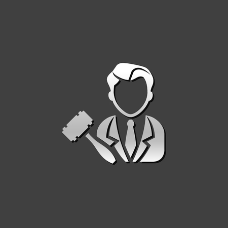 Auctioneer icon in metallic grey color style. Business auction bidding marketplace