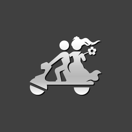 Wedding scooter icon in metallic grey color style. Newlywed riding scooter motor