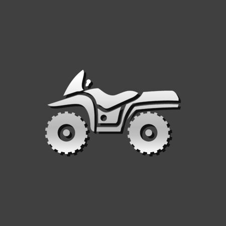 All terrain vehicle icon in metallic grey color style. Rally offroad outdoor Illustration