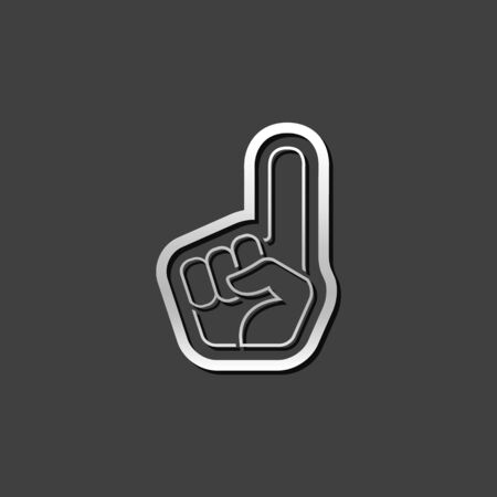 fanaticism: Foam glove icon in metallic grey color style. Sport spectator supporter