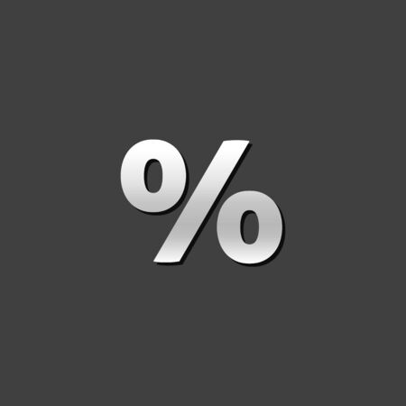 shiny metal: Percent symbol icon in metallic grey color style. Math mathematics number