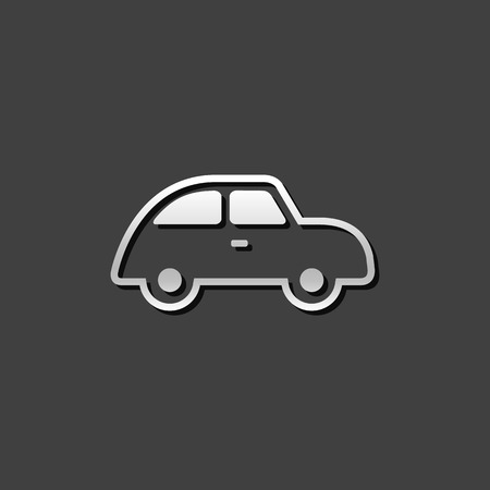 shiny metal: Green car icon in metallic grey color style. Low emission electric vehicle Illustration
