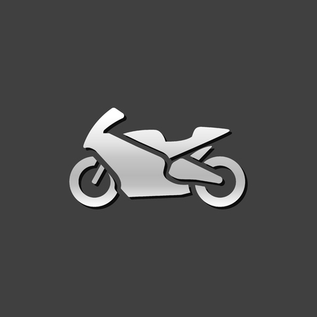 grey: Motorcycle icon in metallic grey color style. Sport speed race