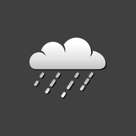 Rainy icon in metallic grey color style. Season forecast monsoon wet