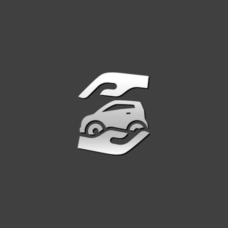 protection hands: Hand holding car icon in metallic grey color style. Business insurance protection