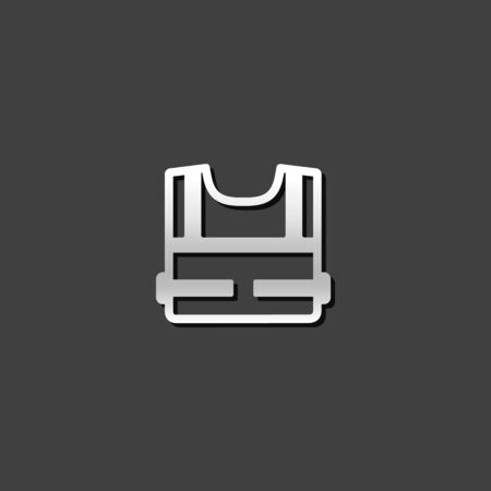 shiny metal: Safety vest icon in metallic grey color style.Construction wear safety