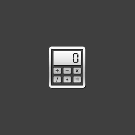 calculate: Calculator icon in metallic grey color style. Calculate electronic finance