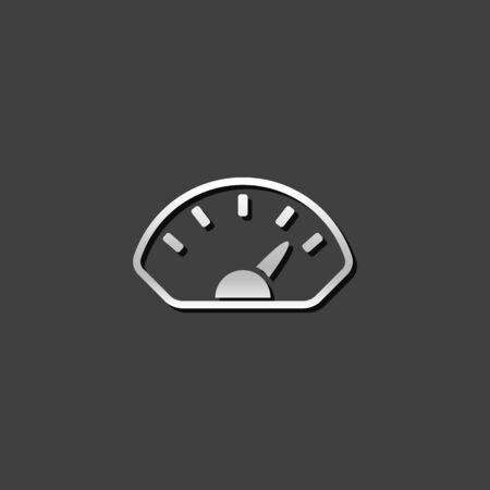grey: Dashboard icon in metallic grey color style.Control panel odometer speedometer