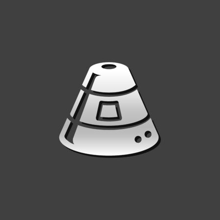 Space capsule icon in metallic grey color style. Astronaut space craft