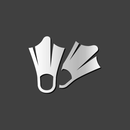 grey: Diving fins icon in metallic grey color style. Sea sport scuba Illustration