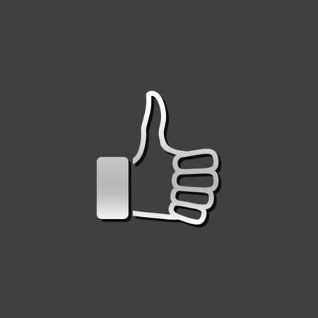 status: Thumb up hand icon in metallic grey color style. Internet social media news status