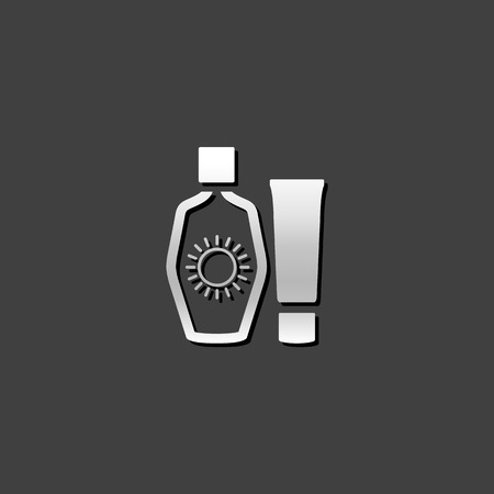 grey: Tanning lotions icon in metallic grey color style. Sun tan spa therapy Illustration
