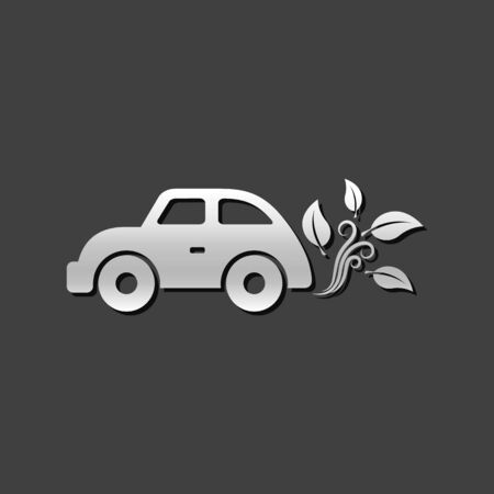 grey: Green car icon in metallic grey color style. Low emission electric vehicle Illustration