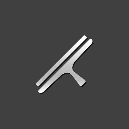 scraper: Glass scraper icon in metallic grey color style. Household industrial cleaning tool