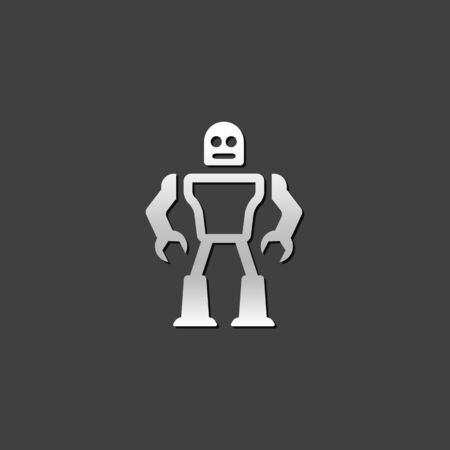 grey: Toy robot icon in metallic grey color style.Children kids mechanical Illustration