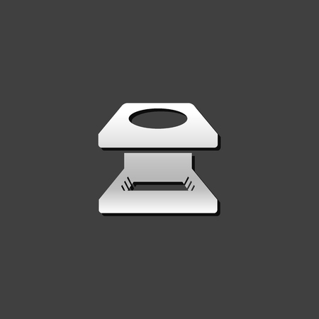 Printing magnifier icon in metallic grey color style.