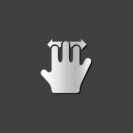 shiny metal: Finger gesture icon in metallic grey color style.Gadget touch pad smart phone laptop