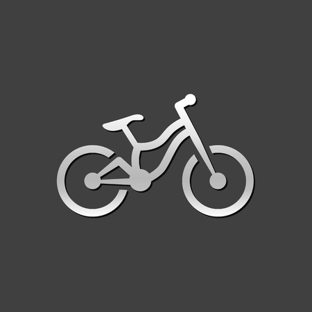grey: Mountain bike icon in metallic grey color style. Sport explore bicycle
