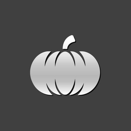 Pumpkin icon in metallic grey color style. Halloween autumn celebration Illustration