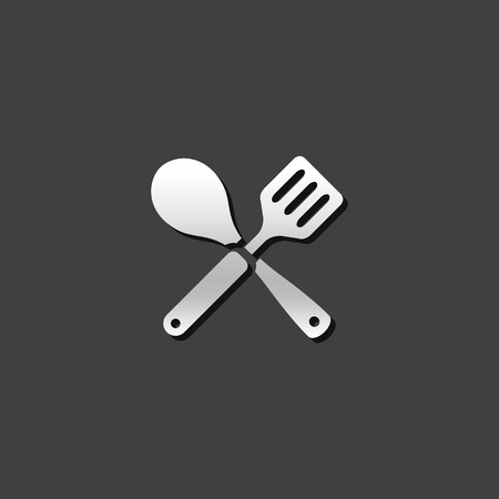 Spatula icon in metallic grey color style. Cooking utensil kitchen household