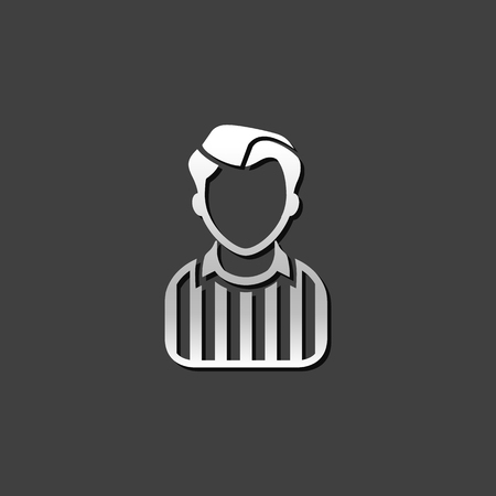 Referee avatar icon in metallic grey color style. Sport football soccer