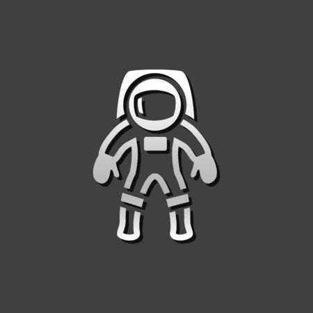 Astronaut icon in metallic grey color style. Space protective gear Illustration