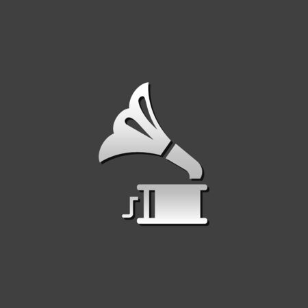 music: Gramophone icon in metallic grey color style. instrument music player Illustration