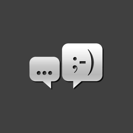 shiny metal: Chat sign icon in metallic grey color style. Communication conversation social media