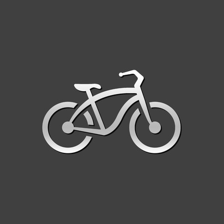 grey: Low rider bicycle icon in metallic grey color style. Sport urban transportation Illustration